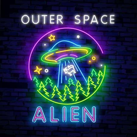 Space Neon sign UFO. Retro neon. Cosmic Theme design template concept. Neon banner background design, night symbol, modern trend design. Vectro Illustration