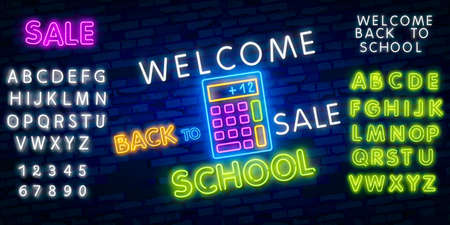 Back to School Welcome greeting card design template neon vector. Modern trend design, the beginning of the school year neon sign. Back to School for greeting card, invitation poster.