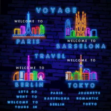 Tourism neon sign. travel design. Night bright neon sign, colorful billboard, light banner. Vector illustration in neon style.