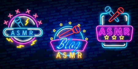 ASMR Neon Text Vector. Autonomous sensory meridian response neon sign, design template, modern trend design, night neon signboard, night bright advertising.