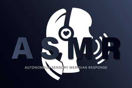 Autonomous sensory meridian response, ASMR logo or icon. Female head profile with heart shaped headphones, enjoying sounds, whisper or music. Ilustracja