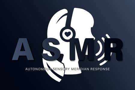 Autonomous sensory meridian response, ASMR logo or icon. Female head profile with heart shaped headphones, enjoying sounds, whisper or music. Illustration