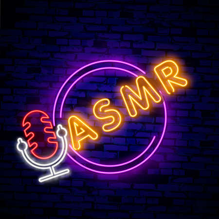 Autonomous sensory meridian response, ASMR logo or icon. Microphone and heart shaped earphones, as a symbol of enjoying sounds, whisper or music.