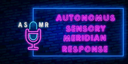 Vector realistic isolated neon sign of ASMR frame logo for template decoration and covering on the wall background. Logo