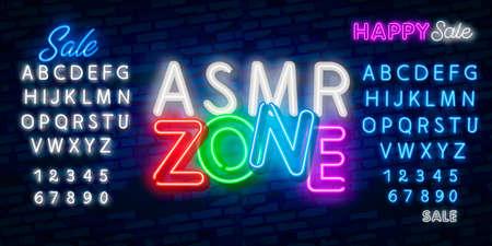 ASMR Neon Text Vector. Autonomous sensory meridian response neon sign, design template, modern trend design, night neon signboard, night bright advertising. Banco de Imagens - 130775492