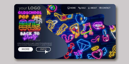 Colorful Landing Page. Mock up website. Home Page. Web banner templates. Social media, business app, seo and marketing. Back to the 80s neon sign