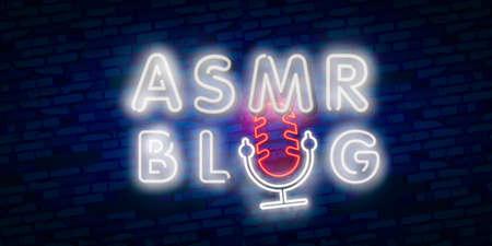 Vector de texto de neón ASMR. Señal de neón de respuesta meridiana sensorial autónoma, plantilla de diseño, diseño de tendencia moderna, letrero de neón nocturno, publicidad luminosa nocturna.