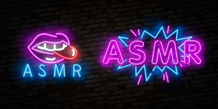 ASMR Neon Text Vector. Autonomous sensory meridian response neon sign, design template, modern trend design, night neon signboard, night bright advertising.