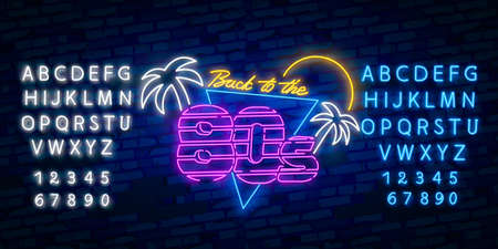 Back to 80s neon sign, bright signboard, light banner. Back to 80s logo neon, emblem.
