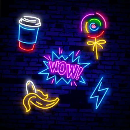 Pop art icons set. Pop art neon sign. Bright signboard, light banner.