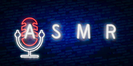 Vector realistic isolated neon sign of ASMR frame logo for template decoration and covering on the wall background. Фото со стока - 131360323