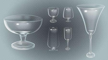 Set of cocktail stemware and glasses for alcohol Archivio Fotografico - 129787770