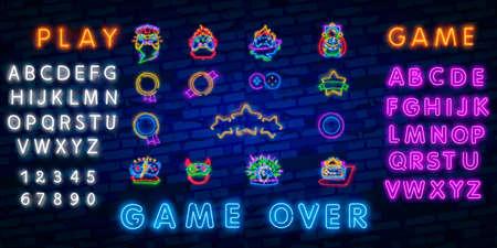 Big set neon sing. Game room label