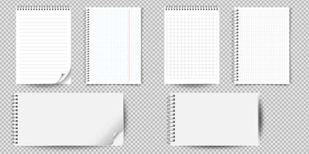 Realistic notebook or notepad with binder isolated. Memo note pad or diary with lined and squared paper page templates. Vector illustration Çizim