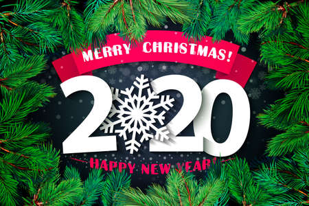 2020 Happy New Year background. Vector illustration 2020 Happy New year and merry Christmas. for your flyers and brochures postcards design