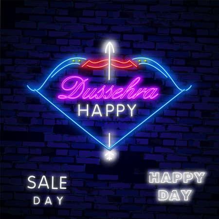 Happy Dussehra Sale Promotion Advertisement template background for Navratri festival of India in vector. Garba Festival Neon,Navratri Celebration Neon Design, Gujarati Dandiya Night Poster Or Banner Design.