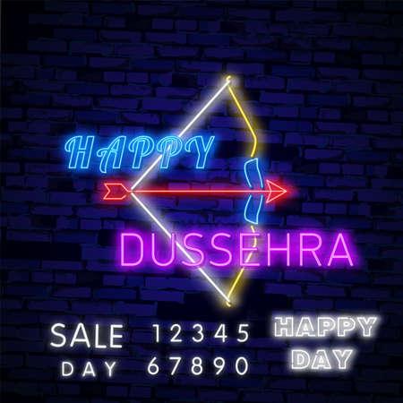 Happy Dussehra Sale Promotion Advertisement template background for Navratri festival of India in vector. Garba Festival Neon,Navratri Celebration Neon Design