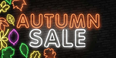 Autumn Sale neon sign, bright signboard, light banner. Autumn Discounts logo, emblem. Offer, shopping and sale advertising design. Night bright neon sign, colorful billboard, light banner. Vector illustration in neon style.