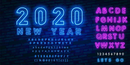 Neon sign happy new year 2020 on a dark background with bright alphabets. Can be used for greeting card, invitation and other. Vector illustration.  イラスト・ベクター素材