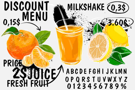 Breakfast menu placemat food restaurant brochure, template design. Fresh juice, oranges, citrus, drinks in the cafe. Vintage creative dinner flyer with hand-drawn graphic.
