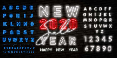 Neon sign happy new year 2020 SALE on a dark background with bright alphabets. Can be used for greeting card, invitation and other. Vector illustration.