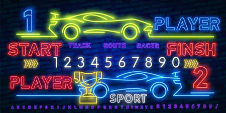 Neon Play and Win. Esports neon light icons set. Gaming device and gadgets. Video game tournaments. Glowing signs. Vector isolated illustrations