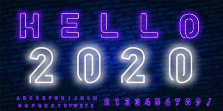 Vector realistic isolated neon sign of Goodbye 2019 for template decoration and covering on the wall background. Concept of Happy New Year and Merry Christmas.