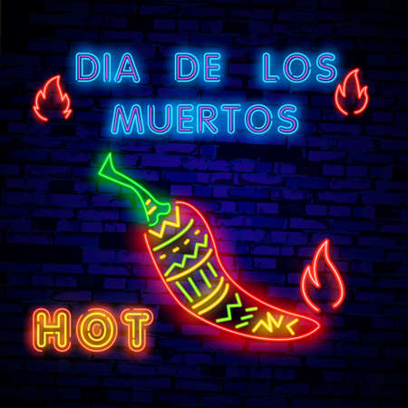 Super hot pepper- Neon Sign Vector. Super hot pepper - Badge in neon style on brick wall background, design element, light banner, announcement neon signboard, night advensing. Vector Illustration