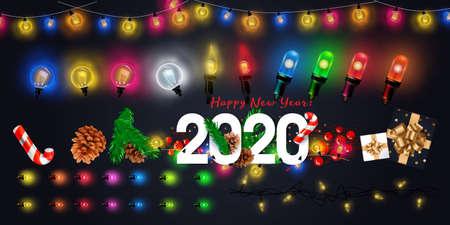 Luces de hadas de Navidad aisladas realistas vectoriales para decoración de plantillas y diseño que cubre el fondo transparente. Ilustración de vector