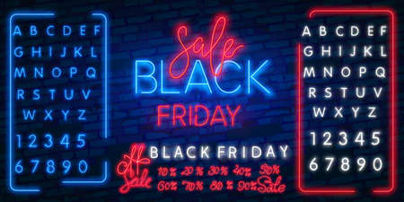 Dark background for black Friday sale. Modern neon red billboard on brick wall. Concept of advertising for seasonal offer