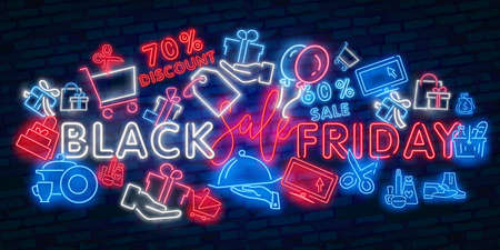 Black Friday neon sign. Web banner, logo, emblem and label. Neon sign, bright signboard Illusztráció