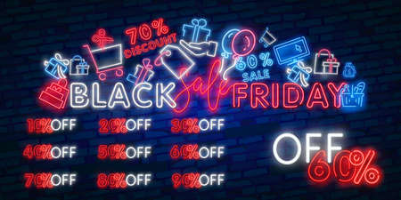 neon sign of Black Friday Sale Percent logo for template decoration on the transparent background. Illustration