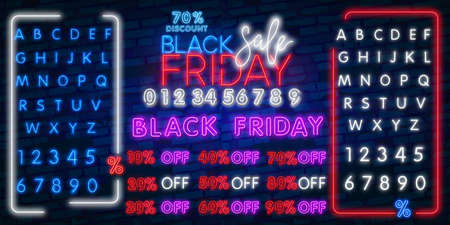 neon sign of Black Friday Sale Percent logo for template decoration on the transparent background. Banco de Imagens - 131360240