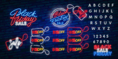 neon sign of Black Friday Sale Percent logo for template decoration on the transparent background. Illusztráció