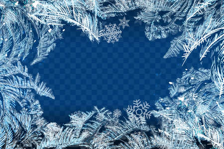 Vector Patterns Made by the Frost. Blue Winter Background for Christmas Designs. Xmas Typographic Label for Holiday Greeting Cards, Party Banners and Posters. Icy Abstract Background. Stok Fotoğraf - 131360331