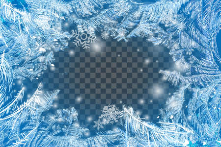 Vector Patterns Made by the Frost. Blue Winter Background for Christmas Designs. Xmas Typographic Label for Holiday Greeting Cards, Party Banners and Posters. Icy Abstract Background. Çizim
