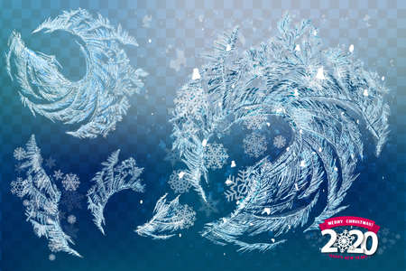 Vector Patterns Made by the Frost. Blue Winter Background for Christmas Designs. Xmas Typographic Label for Holiday Greeting Cards, Party Banners and Posters. Icy Abstract Background. Stok Fotoğraf - 131360337
