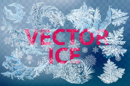 New Year on ice frosted background. RGB. Global colors. One editable gradient is used for easy recolor. Vector illustration. icy Christmas background. snow and icicles Vettoriali