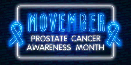 Template logos for prostate cancer with moustache and light blue ribbon
