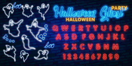 A set of nine neon signs in the form of ghosts. Ghost in neon style on brick background. Night bright advertisement. Can be used for signs, posters, billboards