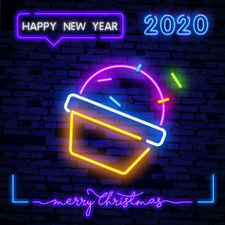 Delicious cupcake neon sign. Dessert, cafe and food concept. Advertisement design. Night bright colorful billboard, light banner. Vector illustration in neon style. Çizim