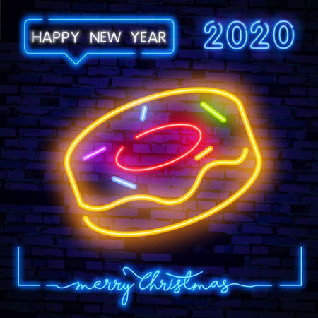 Donut with colorful decorations. Glowing neon donut on dark blue brick background. Vector illustration can be used for celebrations, cake shops, event organization
