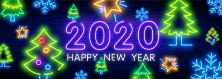 2020 Neon Text. 2020 New Year Design template. Colorful neon Light Banner. Vector Illustration. New 2020 Year sign in colorful neon design on brick wall background.