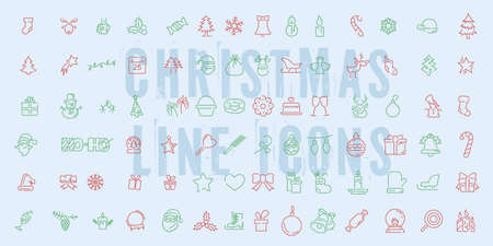 Vector line icons with christmas symbols and objects. Thin line set for web design and application user interface.