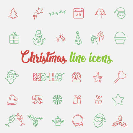 Big set of linear Christmas and New Year icons. Trendy thin lines pictograms for winter holidays. Illusztráció