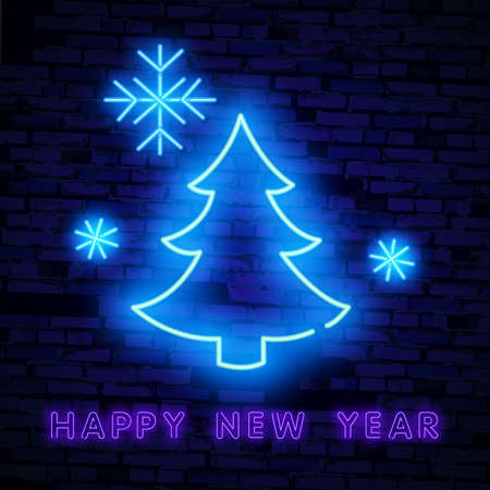 Christmas tree in neon light. Neon sign. Concept design greeting card, poster or banner.