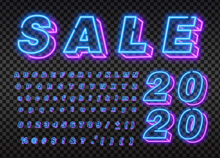 2020 New Year neon background colorful. Merry Christmas neon sign. Logo, emblem, banner and label, bright signboard, light banner