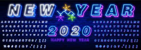 Neon sign happy new year 2020 on a dark background with bright alphabets. Ilustração