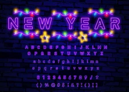 Neon font city. Neon purple font english. City purple font. Alphabet font. Vector illustration