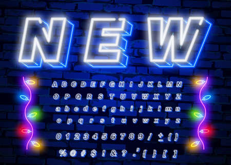 Neon light 3d alphabet, extra glowing font. Exclusive swatch color control. Imagens - 132096171